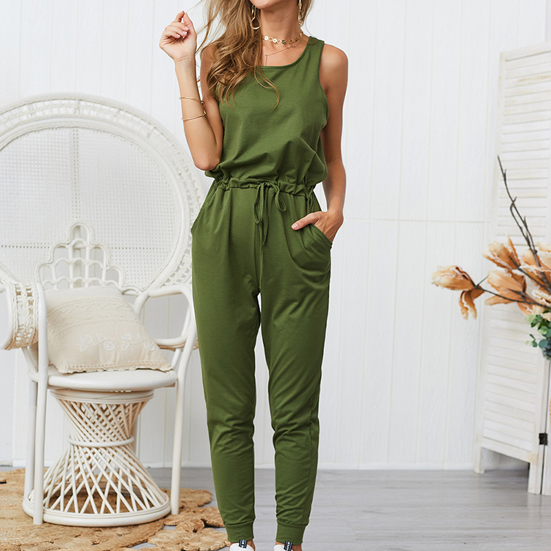 2020 Summer Jumpsuit Women Solid Sleeveless Slim Rompers Body Suit Pocket Casual Sport Long Jumpsuits Ladies Black Women Clothes