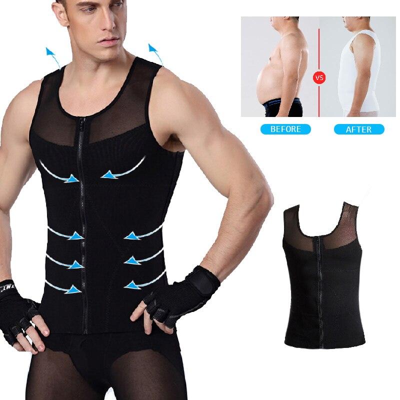 Mens Shapewear Adjustable Tummy Control Vest Waist Trainer Slimming Tank Tops