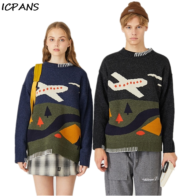 ICPANS Streetwear Print Mens Womens Pullovers Sweater Kint wear O Neck Loose Oversize Sweaters 2019 Spring Autumn Hiphop Fashion