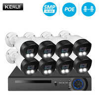 KERUI H.265 8CH 5MP Security Camera System Kit Waterproof Video Surveillance IP CCTV Camera System Face Record NVR POE Set