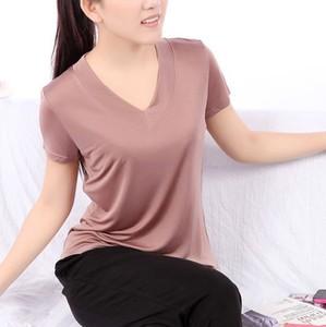 Image 2 - T Shirt manches courtes pour femmes, 100% en soie Pure, col en V, tricoté, taille L XL XXL XXXL, haut basique
