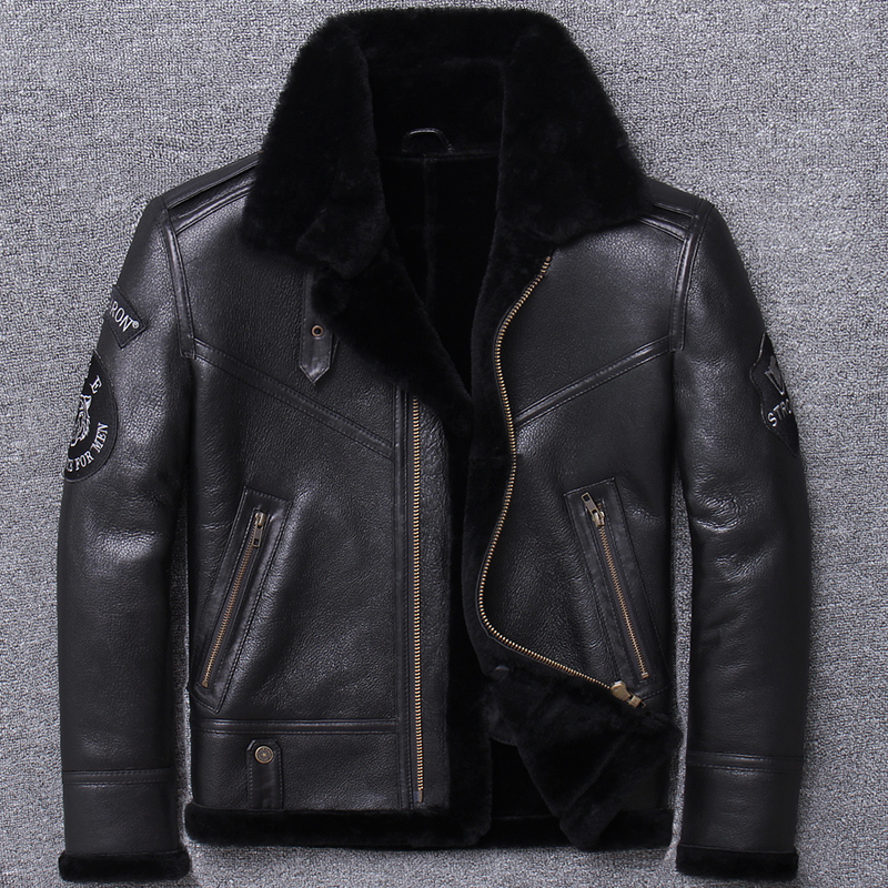 B3 Original Ecology Thickening Sheep One Man Locomotive And Fur Winter Loose Coat Genuine Leather Clothing Slim Fit