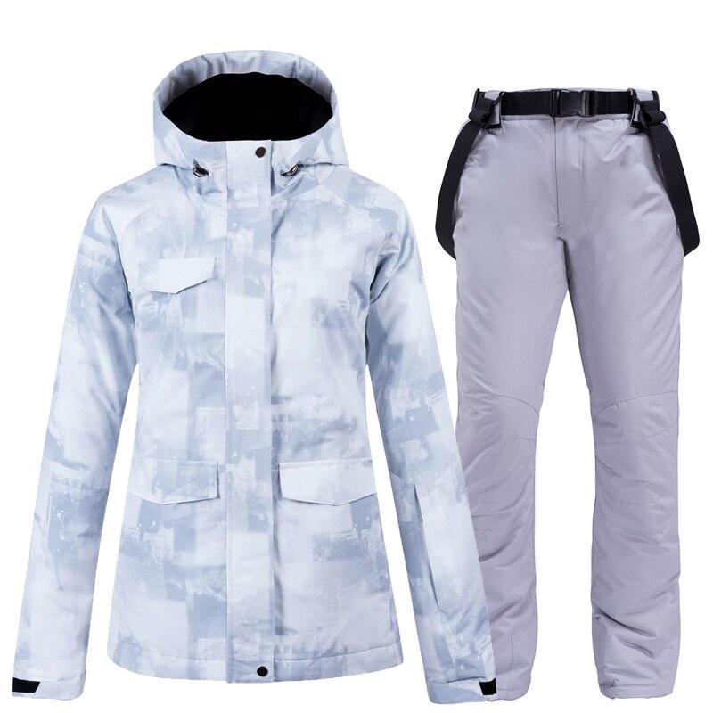 30 толстый теплый лыжный костюм для женщин водонепроницаемый ветрозащитный лыжный костюм и сноуборд куртка брюки набор женские зимние костюмы уличная одежда|Комплекты для сноубординга|   | АлиЭкспресс
