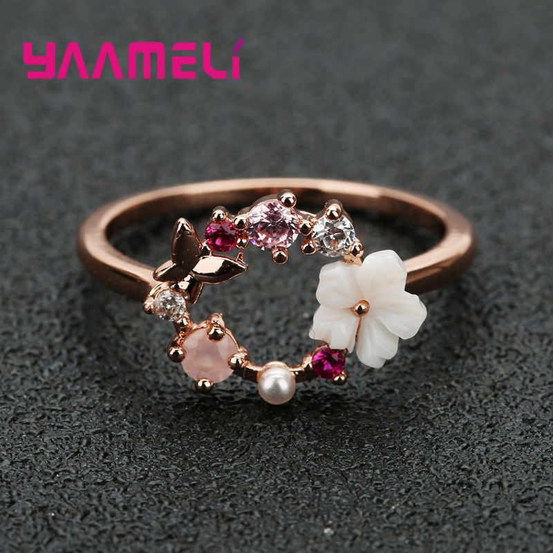 925 Sterling Silver Ring Animal Plant Pattern New Rings Flower Decoration Woman's Jewelry Fashion Accessories