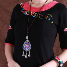 Vintage ethnic embroidery flower seedling silver womens long necklace female pendant jewelry wholesale pusheen bijuteria