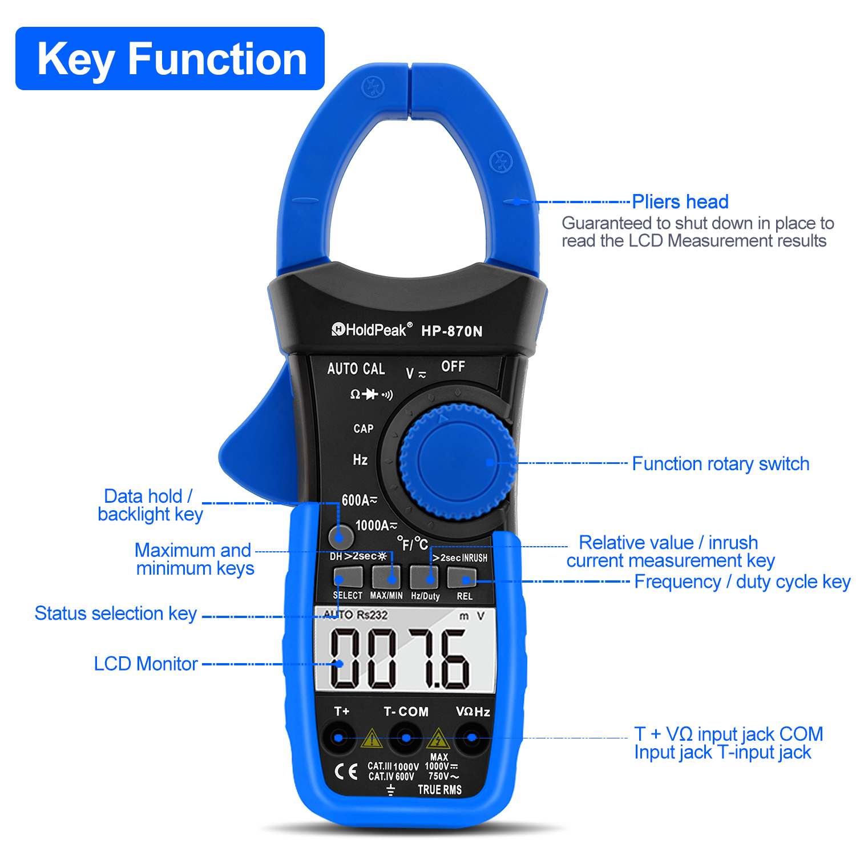 HoldPeak HP-870N Auto Range Multimetro Digital Clamp Meter Multimetro - Strumenti di misura - Fotografia 2