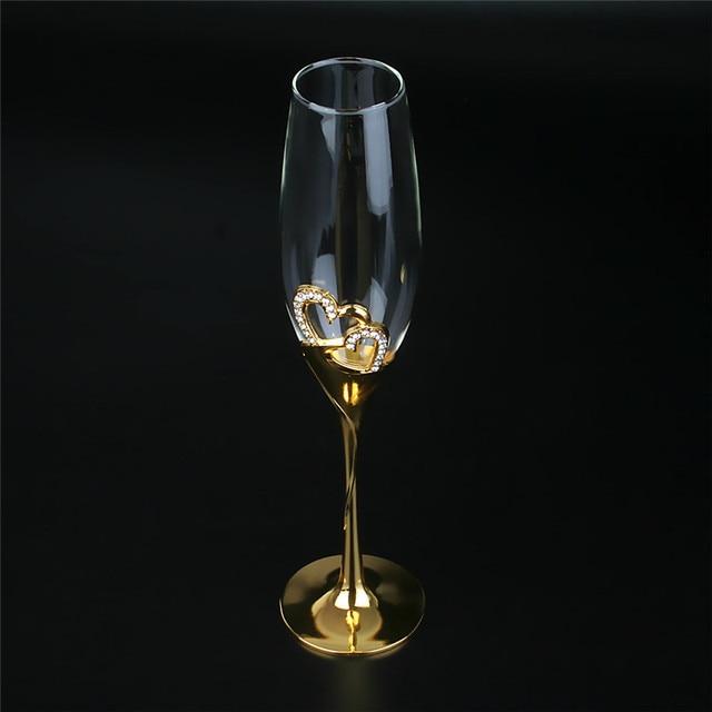 2Pcs/Set Crystal  Gold Metal Stand Flutes Wine Glasses  5