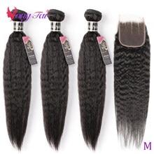 Yuyongtai feixes de tecer cabelo brasileiro com fechamento kinky cabelo humano em linha reta 3 pacotes com fechamento de renda não remy relação média