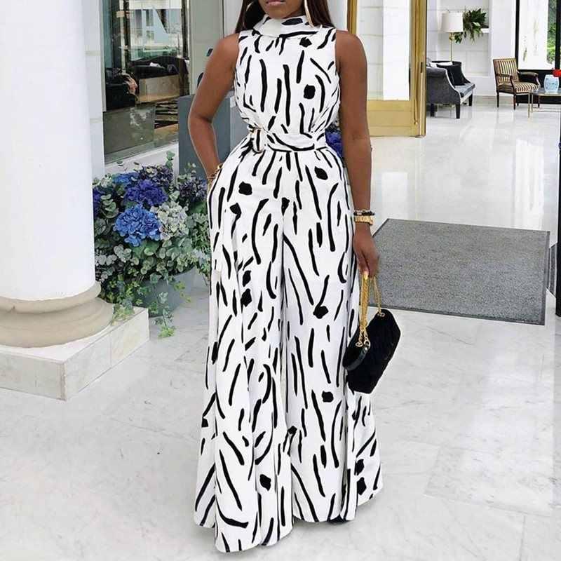 Bohoartist Для женщин точка печати Высокая талия комбинезоны с широкими штанинами уличная одежда в африканском стиле Стиль сексуальный комбинезон офисные женские комбинезоны