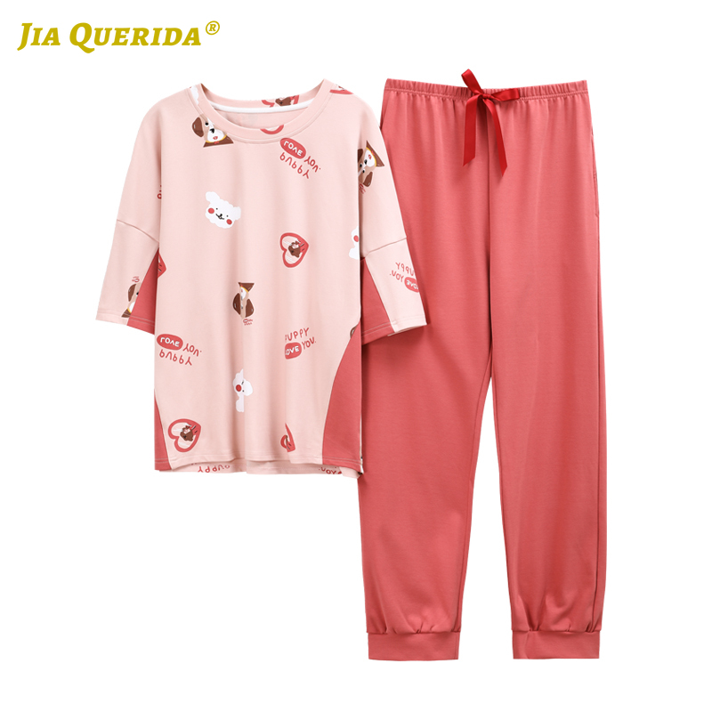 New Crew Neck Loungewear Women Womens Pajamas Homeclothes Pajamas Set Cartoon Printing Short Sleeve Long Pants Homesuit Pj Set
