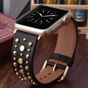 цена на Leather Band 44mm 42mm strap for apple watch sport loop Series 5/4/3/2/1 Bracelet For iWatch Bands 38mm 40mm Strap with Rivets