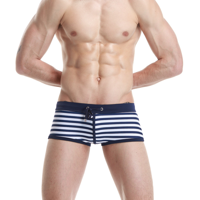 Deep Blue Stripes Swimming Trunks Men Swimwear Seobean SEOBEAN Beach Swimming Trunks Swimming Trunks