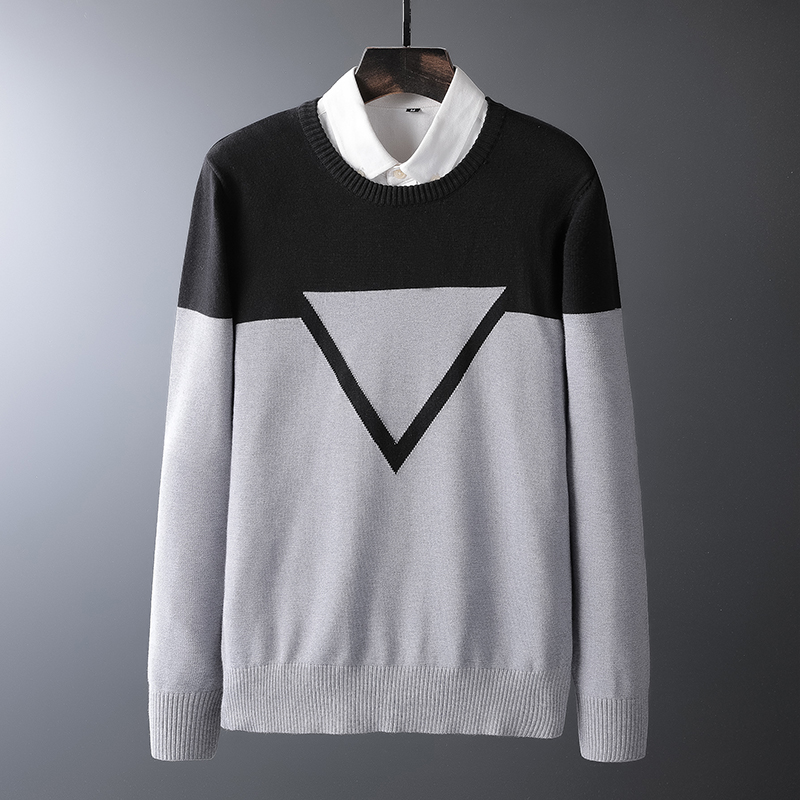 Wool Sweater Pullover Men Knitted Long-Sleeve Autumn Winter Fashion High-Quality New-Brand