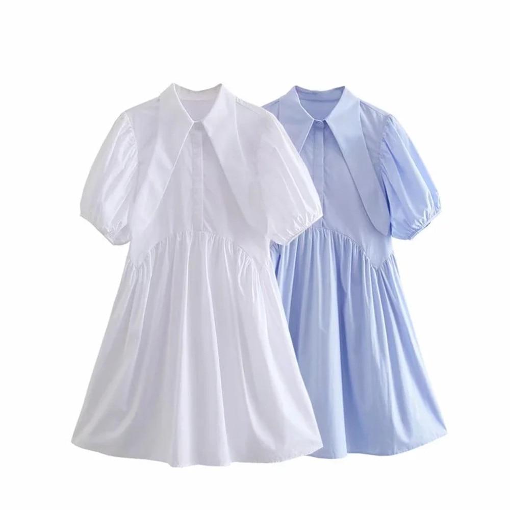 Turn down white collar cute design half sleeve women summer cotton blended casual shirt dress