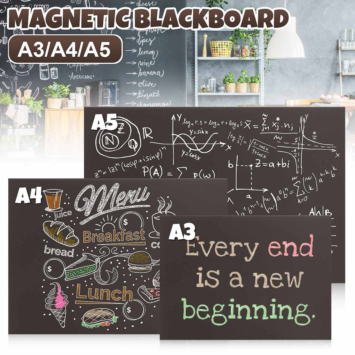 A3 A4 A5 Chalk Board Blackboard Sticker Waterproof Removable Kids Writing Board Art Home Wall Sticker Supplies Decor Accessories