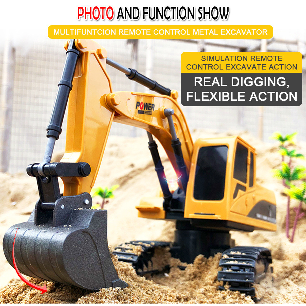 RC Cars Remote Control Toys 1 24 6 Channels 2 4G Metal Excavator Charging Simulation Yellow metal ABS Transmitter Mini Gift Toy in RC Cars from Toys Hobbies