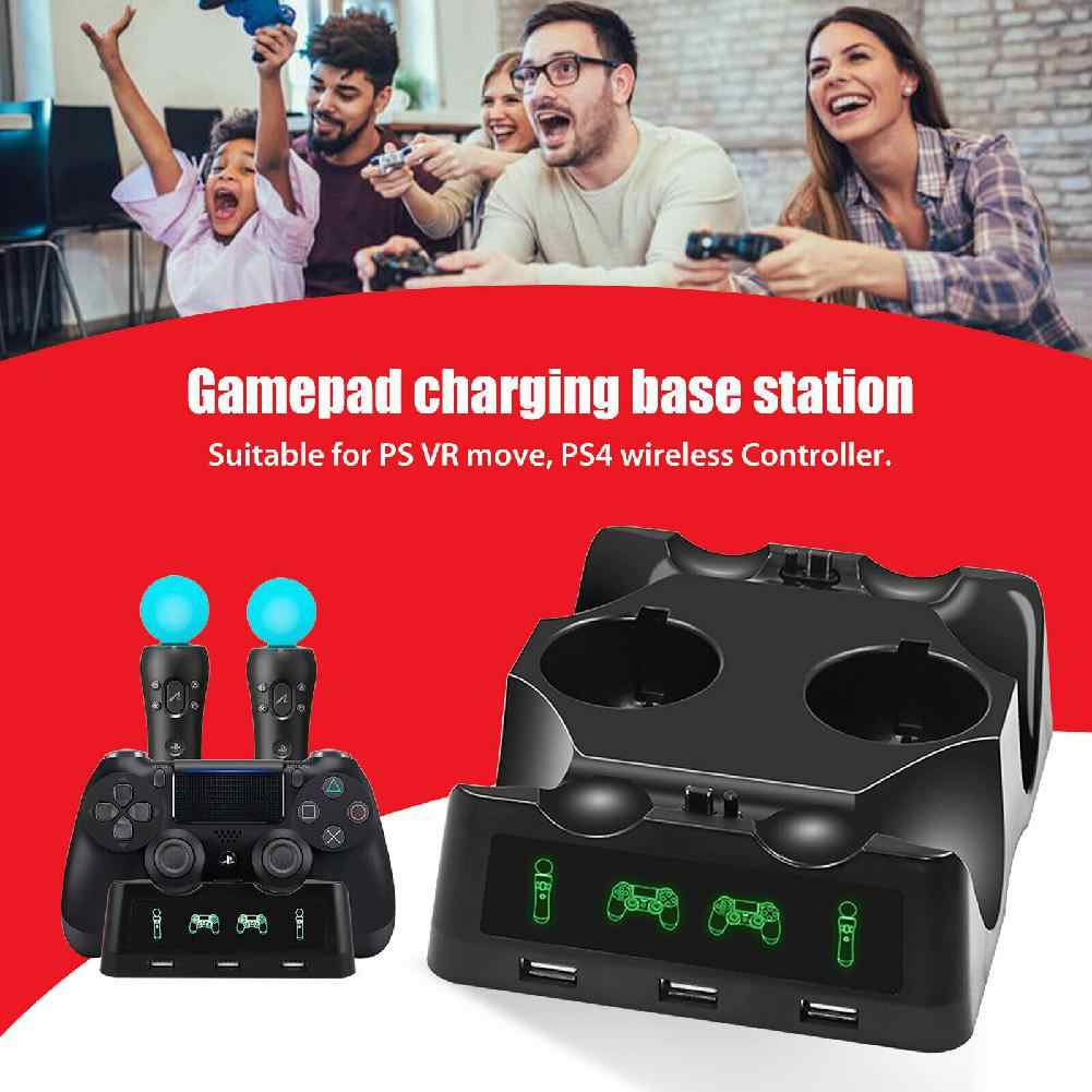 BEESCLOVER 4 in 1 Controller Charger Dock Quick Charging Station Stand for PS4/MOVE/PS4 VR for PS4 Wireless Controller r20