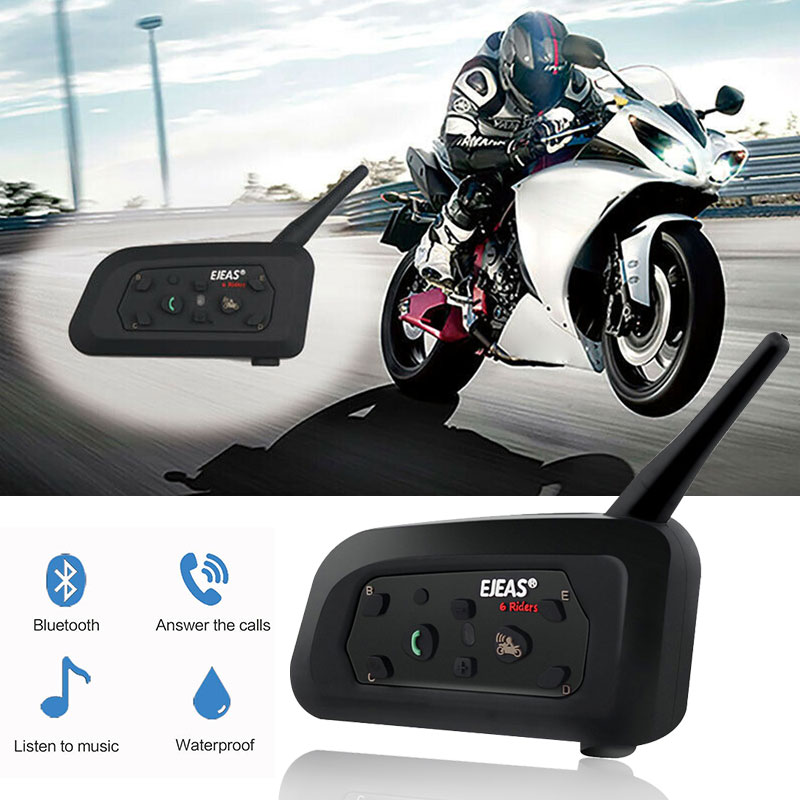Vehemo EJEAS Full-Duplex V6 Pro Bluetooth Intercom Outdoor Sports Waterproof Motorcycle 1PC 850mAh Helmet Walkie Talkie