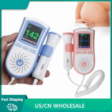 Color LCD Display Bluetooth Fetal Doppler Ultrasound Baby Heartbeat Detector Data Record Free App