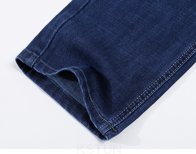 KSTUN Spring and Autumn Men Jeans Classic Straight Business Casual Blue Jeans Stretch Denim Pants Trousers Gentlemen Big Size 17