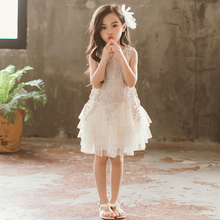 2020 New Girls Dress White O-neck Knee-length Sleeveless Lace Dress Cute Princess Dress For Party And Wedding Baby Girl Clothes  - buy with discount