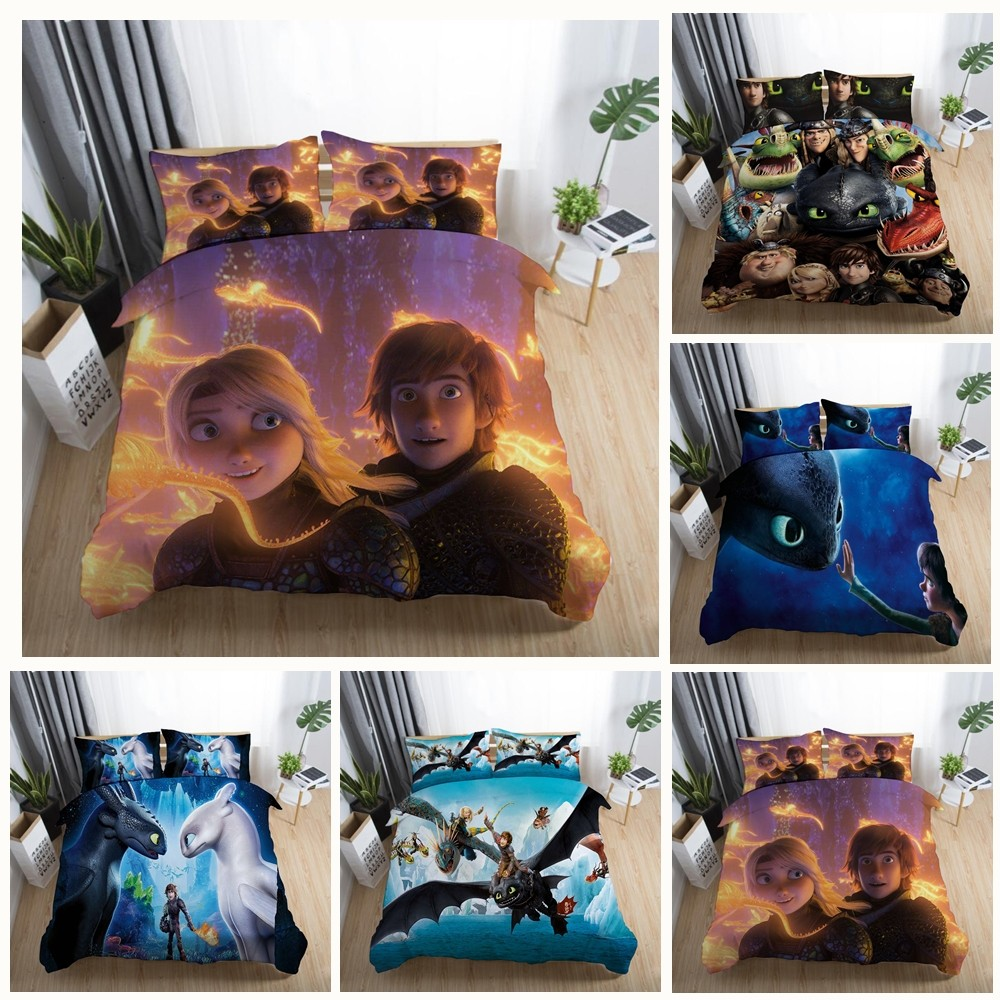 Movie:HOW TO TRAIN YOUR DRAGO Hiccup  Night Fury Toothless Bedding Set Kids Boy Girl Bedroom Duvet Covers Pillowcase Twin Single