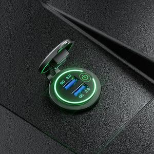 Image 5 - 12 V/24 V double USB voiture QC 3.0 LED chargeur rapide interrupteur tactile pour voiture bateau moto rapide chargeur de voiture