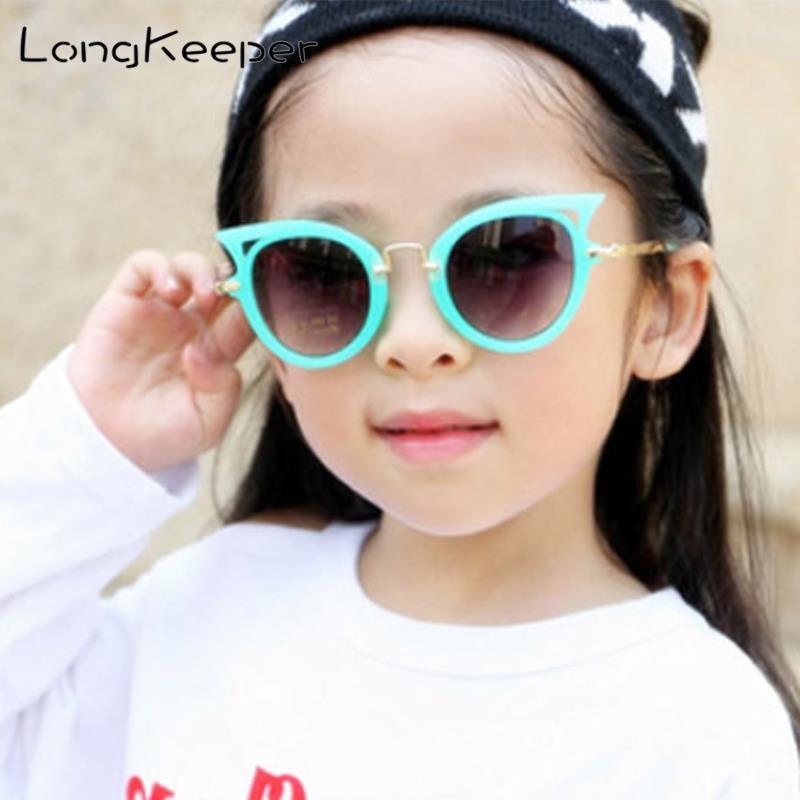 Fashion Cat Eye Sunglasses Boys Girls Brand Designer Children Uv400 Kids Glasses