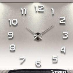 Gran reloj de pared DIY 3D de diseño moderno silencioso gran acrílico Digital auto Reloj de pared adhesivo para la decoración de la sala de estar