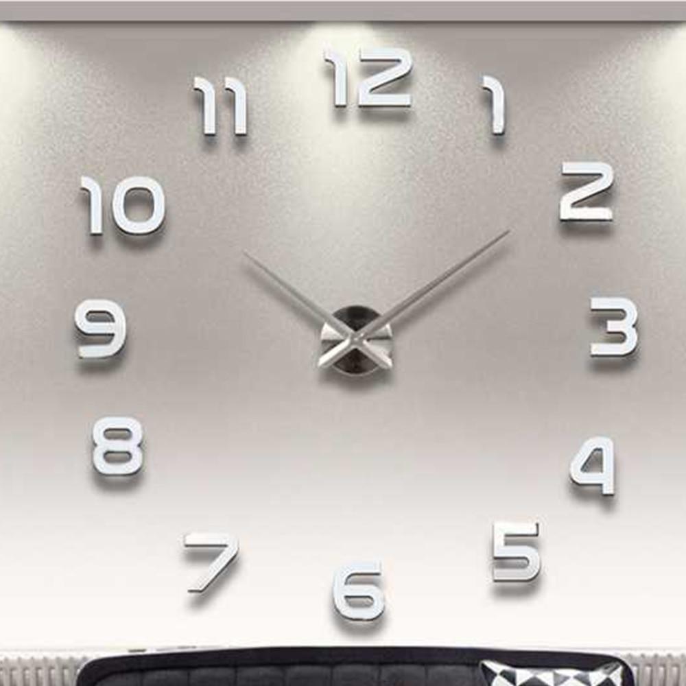 Grand bricolage 3D horloge murale Design moderne silencieux grand numérique acrylique auto-adhésif horloge murale autocollant pour salon décor