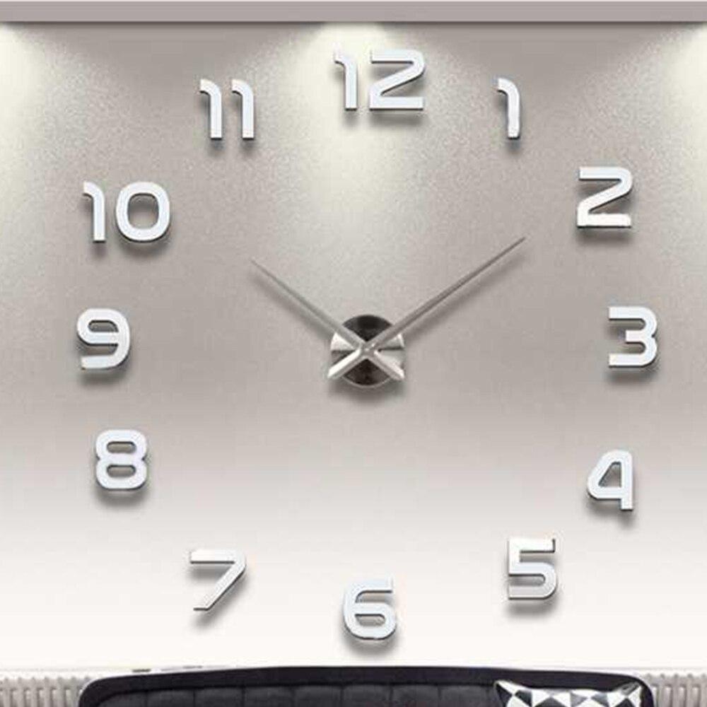 Large 3D DIY Wall Clock Modern Design Silent  Big Digital Acrylic Self Adhesive Wall Clock Sticker For Living Room Decor