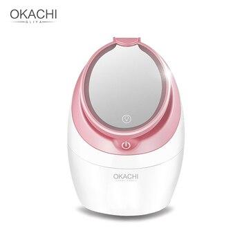 Profesional Nano iónica cara de vapor para la cara salón de belleza Sauna Personal SPA Mini cara rociador con espejo de luz OKACHI GLIYA