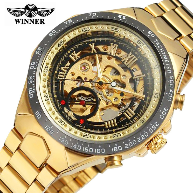 Winner Automatic Watches Stainless Steel Bezel Waterproof Golden Men's Skeleton Watch Top Brand Luxury Hollow Mechanical Watch