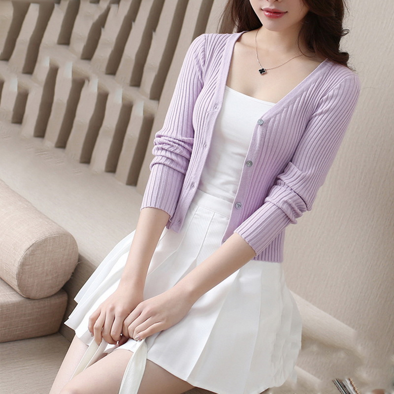 QRWR Spring Autumn Women Sweater Casual Solid Color Knitted Cardigan V Neck Long Sleeve Single Breasted Slim Fit Cardigan Women 1