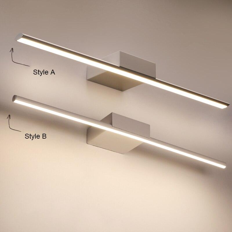 Luminária led minimalismo em preto/branco, 0.4-1.2m, moderna, para espelho, anti-neblina, luzes de parede para banheiro, vestidos mesa/banheiro/lâmpada