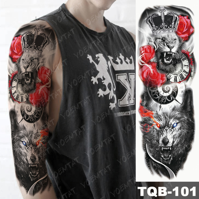 Large Arm Sleeve Tattoo Lion Crown King Rose Waterproof Temporary Tatoo Sticker Wild Wolf Tiger Men Full Skull Totem Tatto 3