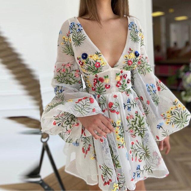 Women Dresses V Neck Floral Print Boho Beach Dress Long Sleeve A Line Mini Dress Sundress Robe Mesh Embroidery Dress Vestidos 3