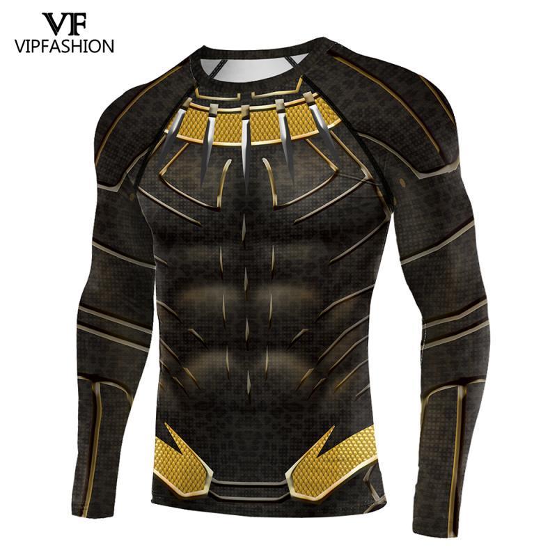 VIP FASHION Black Panther Costume Boy Adult Men 3D Printed Superhero Raglan Sleeves Compression Shirts Tops For Male