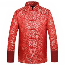Traditionele Chinese Kleding Tang Pak Jas 2020 Rode Zijde Jas Mannen Herfst Draak Cheongsam Tops Plus Size 4XL(China)