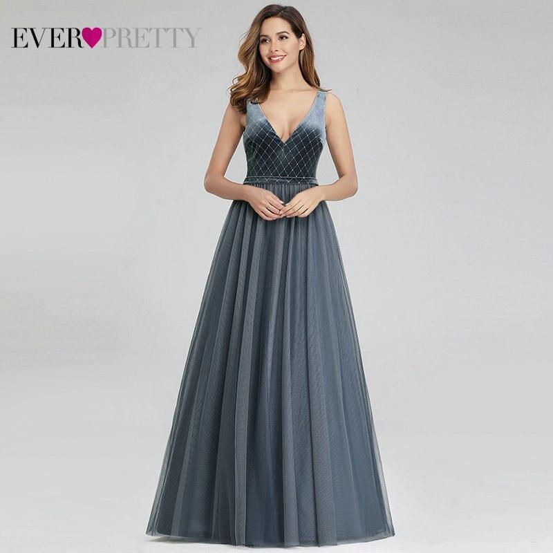Elegant Sparkle Prom Dresses Long Ever Pretty A-Line V-Neck Sleeveless Velour Sexy Gala Dresses For Party Vestidos De Formatura