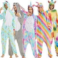Neue Tier Kigurumi Pyjama Erwachsene Unisex Einhorn Nachtwäsche Nachthemd Weiche Cartoon Anime Zipper Warme Pijama Insgesamt Warme Nachtwäsche