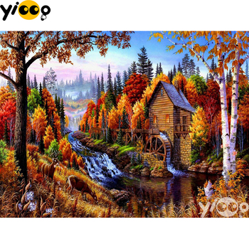 Full Square/round Drill Diamond Painting Cross stitch Forest Gristmill Diamond Embroidery Rhinestone Mosaic Decor EX0803 image