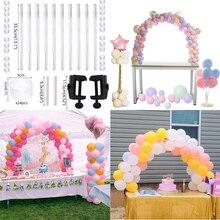 Kit de arco de globo DIY globos de plástico soporte de columna con poste de Base de marco y Clips de globos para decoración de fiesta de evento boda cumpleaños