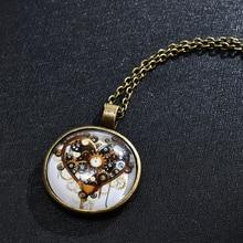 Винтажный стимпанк механические часы узор кабошон стекло Бронза цепочка кулон длинное ожерелье женские ювелирные изделия