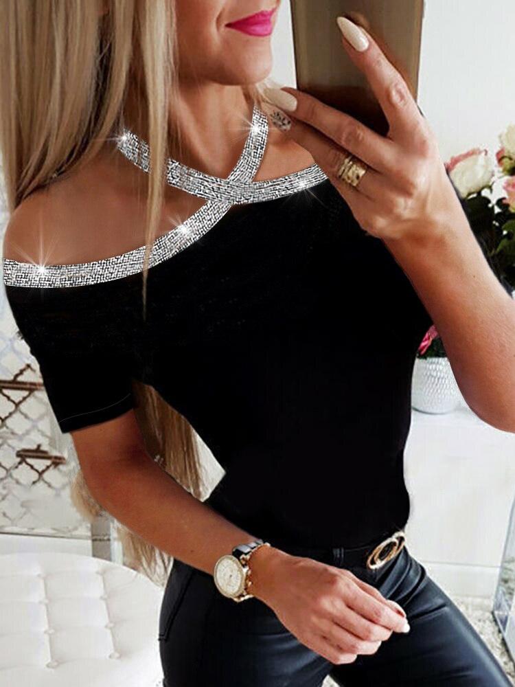 2019 Summer Women Elegant Basic Casual Top Female Lace-up Leisure   Shirt   Rhinestone Details Halter Short Sleeve   Blouse