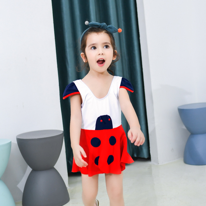 2019 New Style KID'S Swimwear GIRL'S Cute Cartoon Ladybug GIRL'S One-piece Swimming Suit-Style