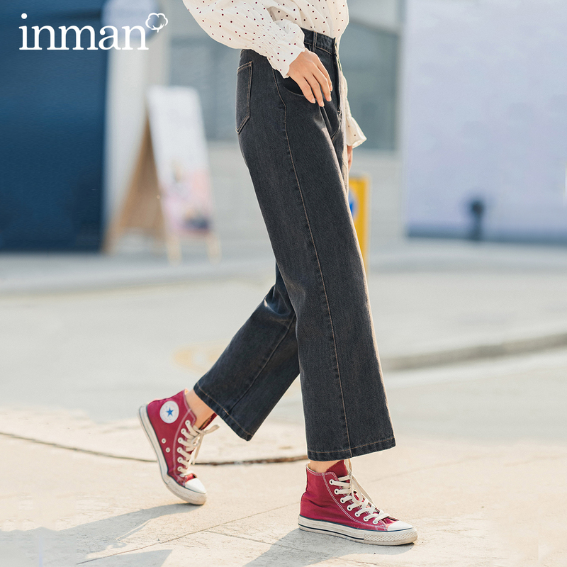 INMAN Spring New Arrival Literary Black Mid High Waist Pocket Loose Straight Style Showing Fitness Women Pant Jeans