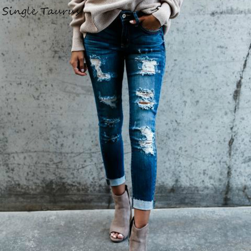 2018 Spring New High Street Elasticity Skinny Jeans Women Fashion Hollow Out Hole Bleached Vintage Push Up Denim Pants Femme