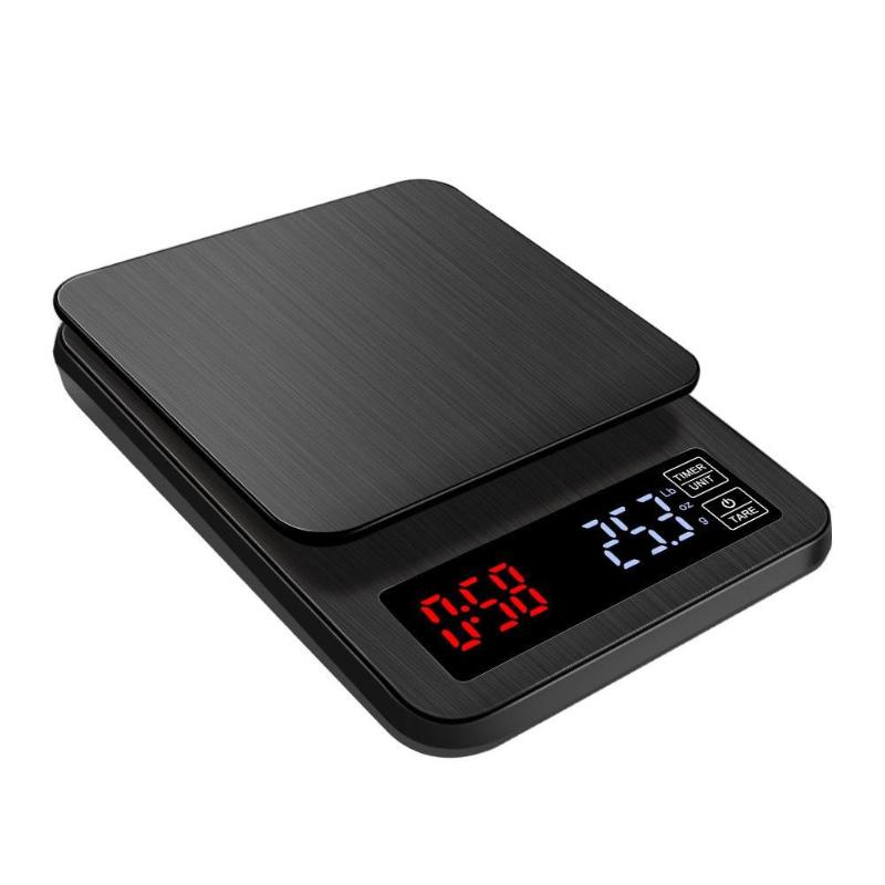 5kg/0.1g 10kg/1g Drip Coffee Scale With Timer Stainless Steel Electronic Kitchen Scale Mini LCD Digital Scales USB Power Socket