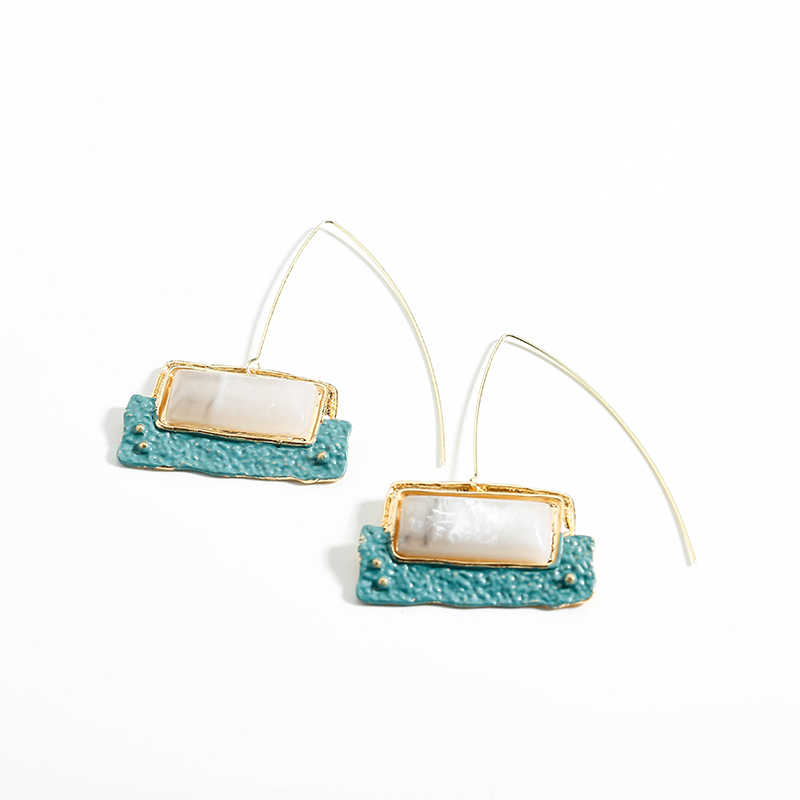 Yhpup Stylish Brand Za Resin Stone Geometric Vintage Dangle Earrings Long Pin Ethnic Earrings for Women Party Jewelry brincos